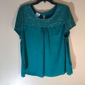 Green XL blouse, sheer, sparkles, beads for summer